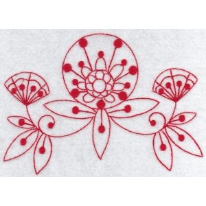 Embroidery Design Set - Fantasy Flowers Redwork 7