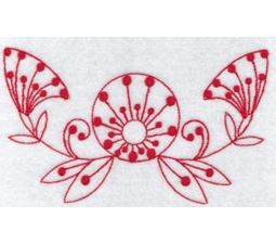 Fantasy Flowers Redwork 9