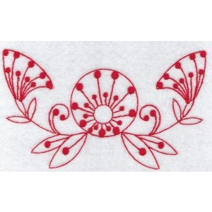 Embroidery Design Set - Fantasy Flowers Redwork 9