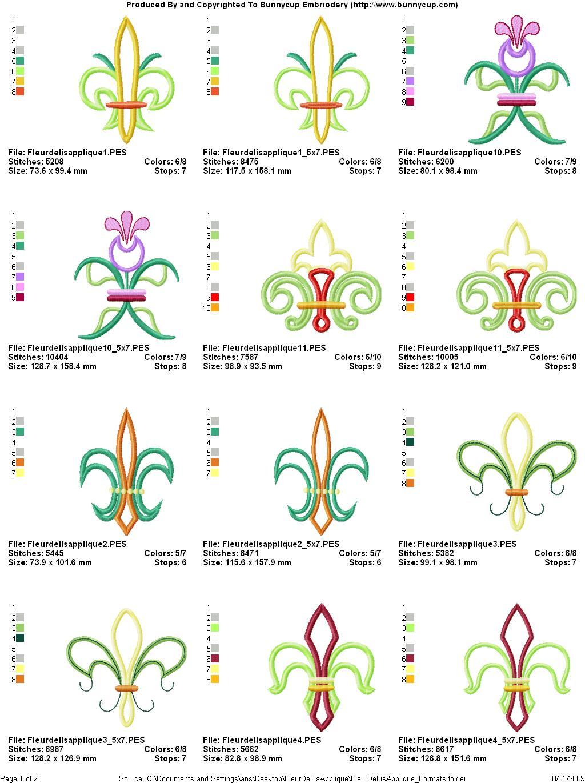 DE DESIGN EMBROIDERY FLEUR LIS
