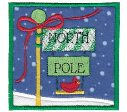 North Pole Sign Post Applique
