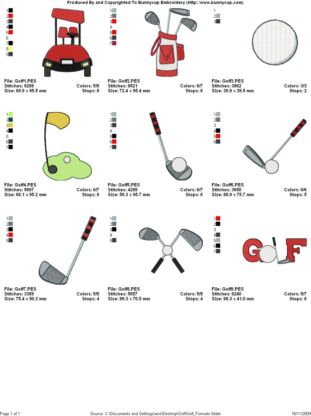 Golf Embroidery Designs - Bunnycup Embroidery