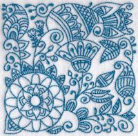 Ink Flower Redwork Blocks