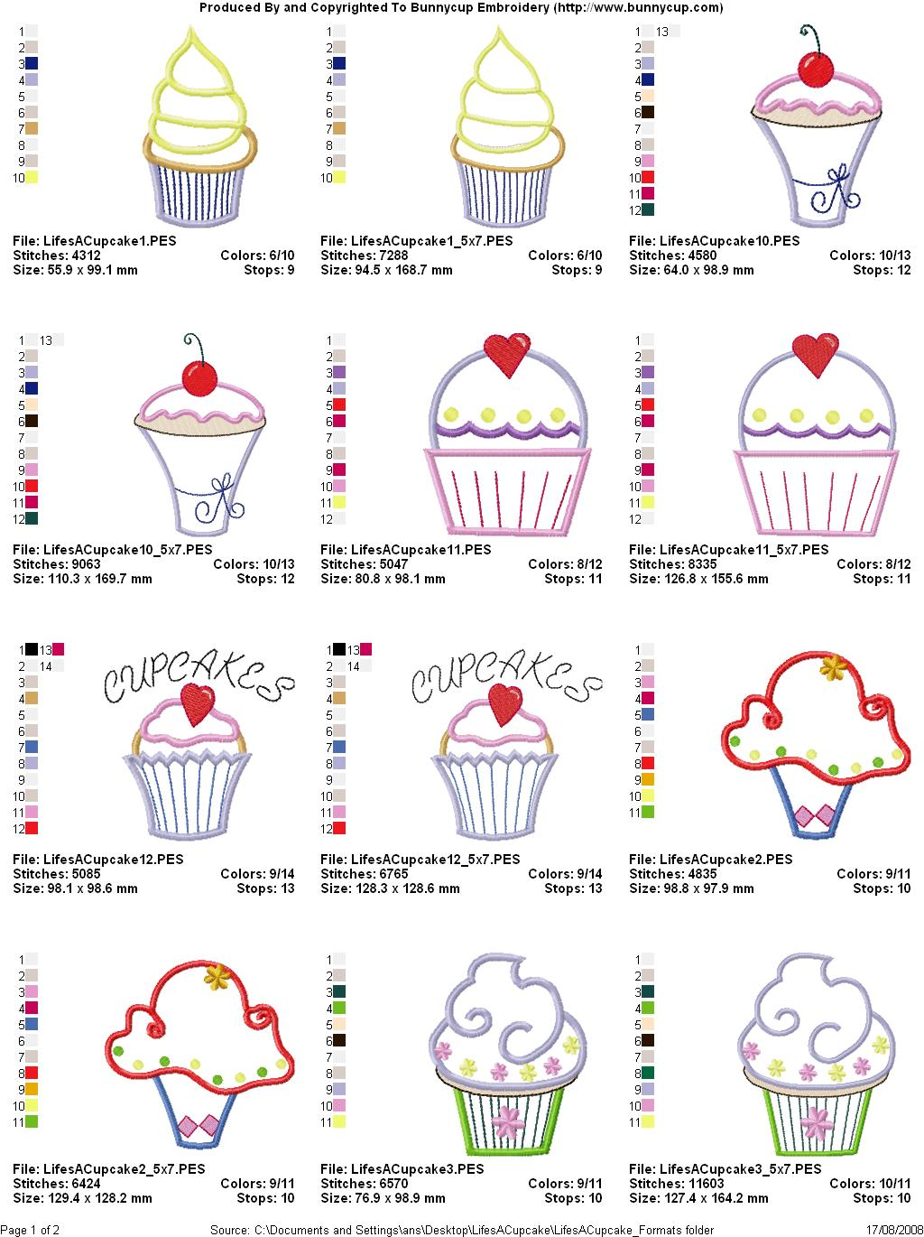 Lifes a cupcake embroidery designs bunnycup