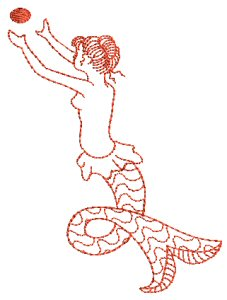 Mermaids Redwork 2