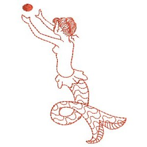 Embroidery Design Set - Mermaids Redwork 2