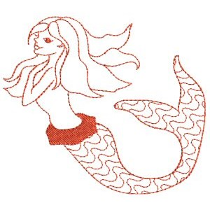 Embroidery Design Set - Mermaids Redwork 3