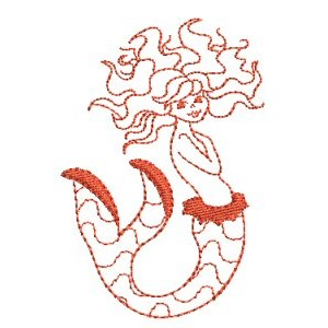 Embroidery Design Set - Mermaids Redwork 4