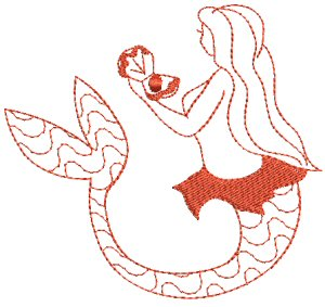 Mermaids Redwork 5
