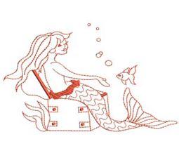 Mermaids Redwork 7