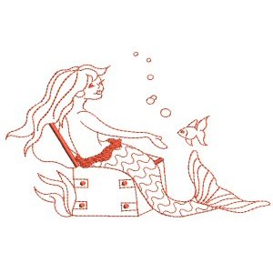 Embroidery Design Set - Mermaids Redwork 7