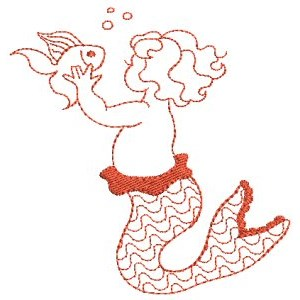 Embroidery Design Set - Mermaids Redwork 8