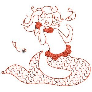 Embroidery Design Set - Mermaids Redwork 9
