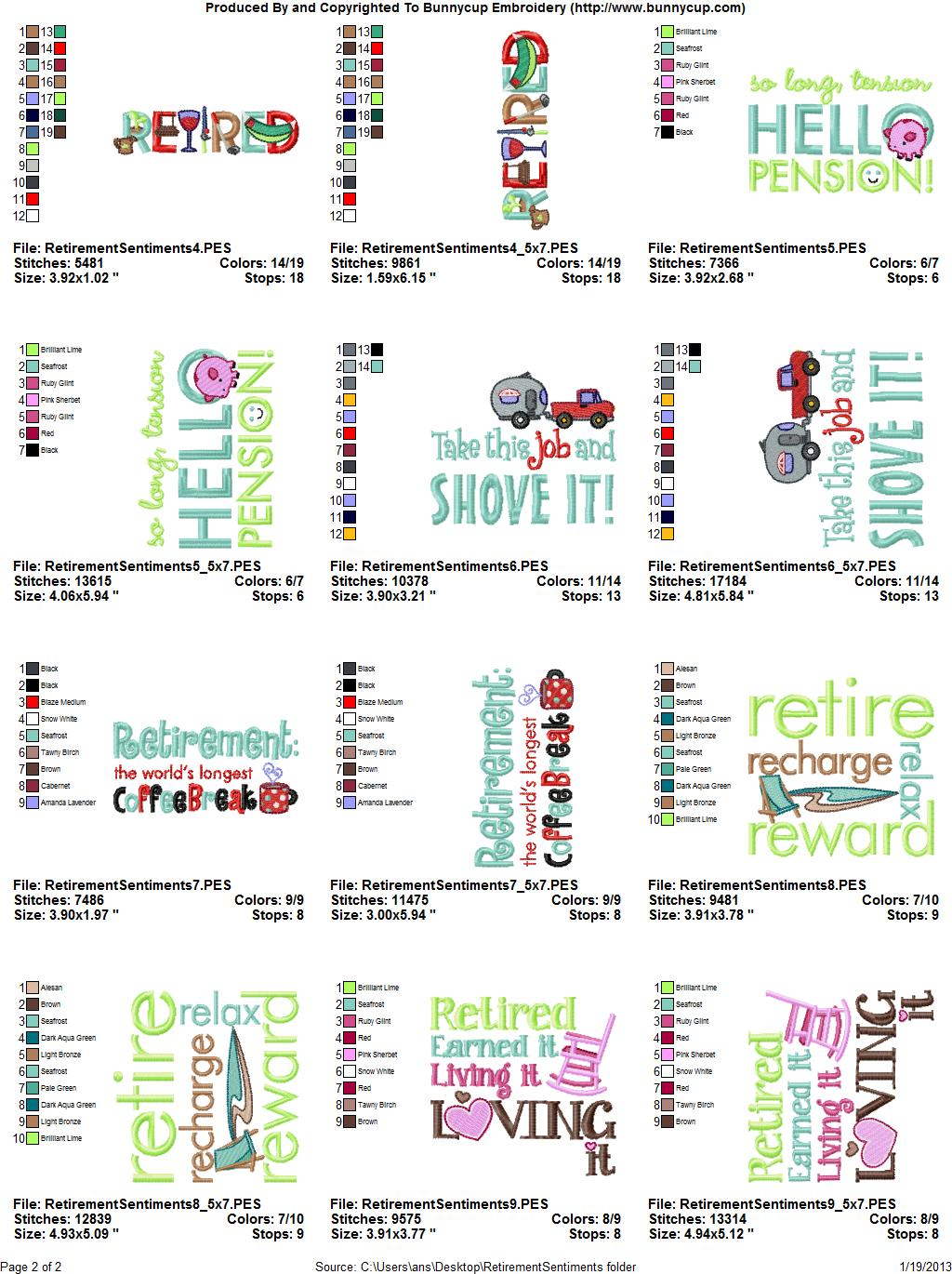 retirement sentiments embroidery designs