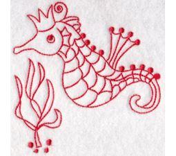 Seahorses Redwork 4