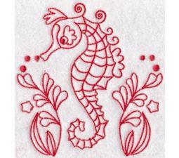 Seahorses Redwork 6