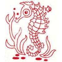 Embroidery Design Set - Seahorses Redwork