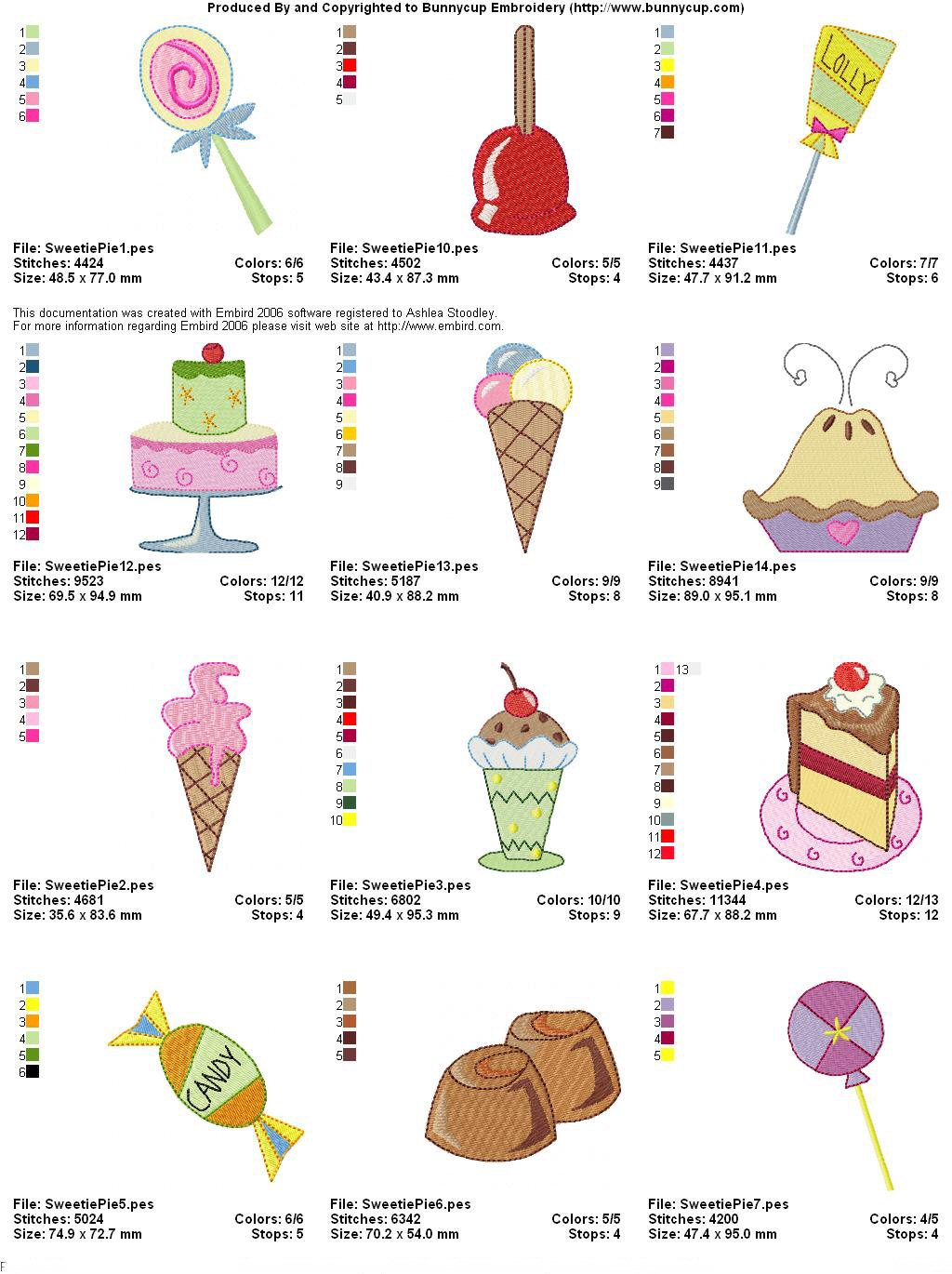 Sweetie Pie Embroidery Designs - Bunnycup Embroidery