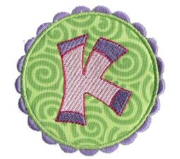 Button Applique Alphabet K