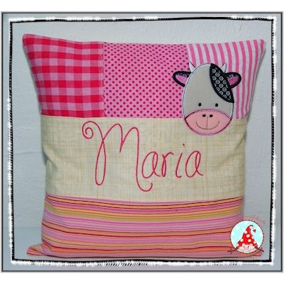 Fran Cute Animal Faces Applique Cushion