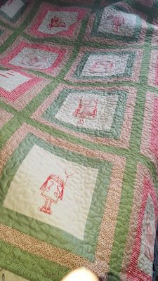 Adri Ambers World Redwork Quilt Apr 16