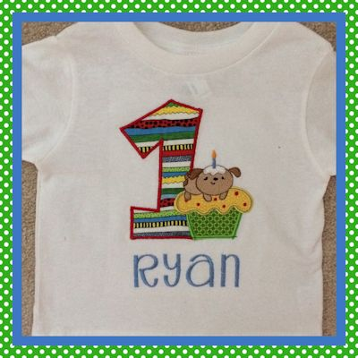 Judy Cupcake Critters Applique Birthday Shirt