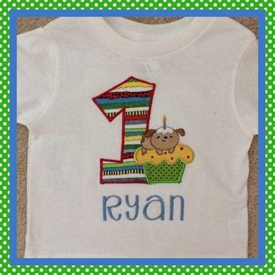 Judy Cupcake Critters Applique Birthday Shirt