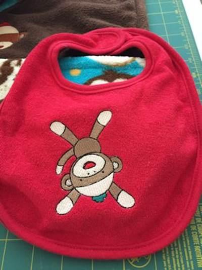 Paula Sock Monkey Bib and Blanket
