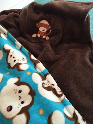 Paula Sock Monkey Bib and Blanket