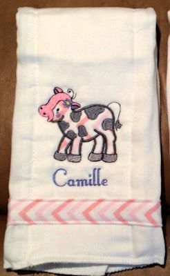 Robin Farmyard Applique Burp CLoth