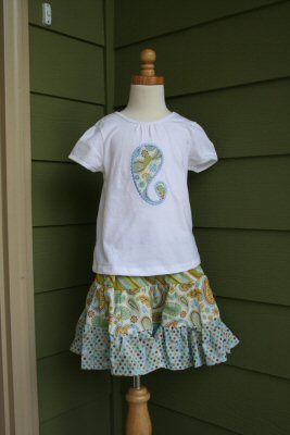Katies Paisley Applique Girls Outfit