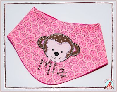 Fran Cute Animal Faces Applique Kerchief Mar16
