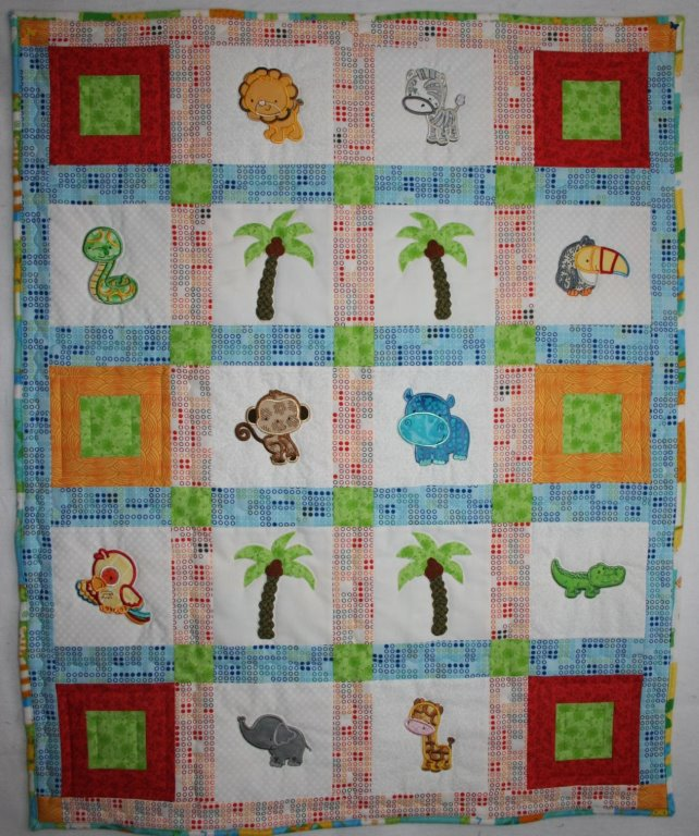 Diane Mighty Jungle Animals Applique Quilt May 17