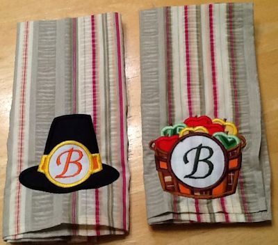 Debbie Monogram Thanksgiving Applique Towels