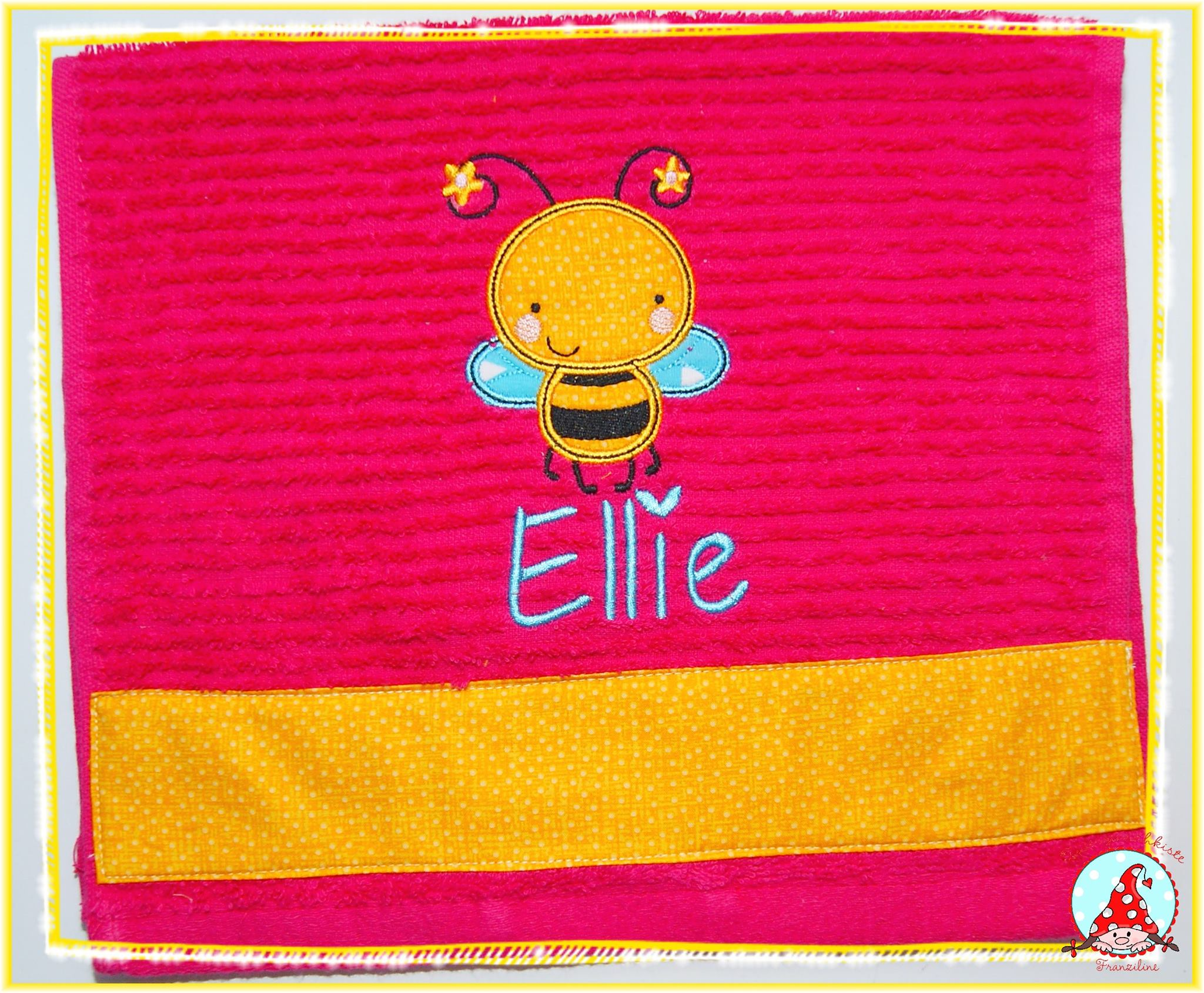 Fran Cuddle Bug Applique Towel Sep 16
