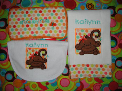 Jeanettes Monkey Friends Applique set