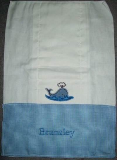 Jans Seaside Stitchies Applique Too Burp Cloth