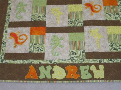 Melissas Crazy Lizards Applique Quilt