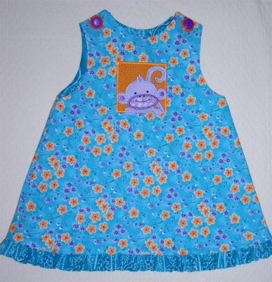Kathys Monkey Friends Applique Dress
