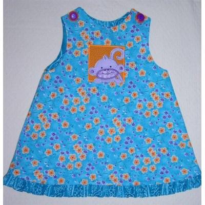 Kathys Monkey Friends Applique Dress
