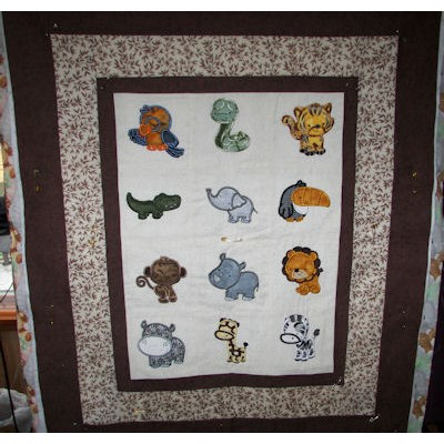 Jeans Mighty Jungle Animals Applique Quilt