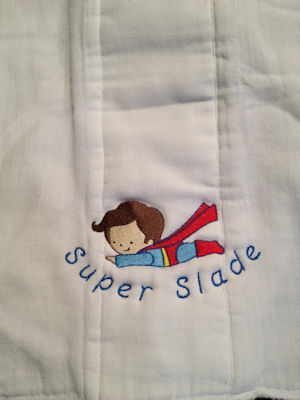 Judiths Superheros burp cloth