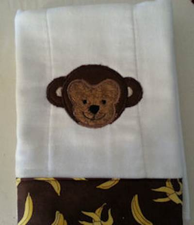 Sharon Cute Animal Faces Applique Burp Cloth