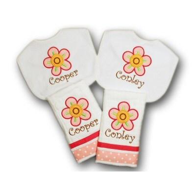 Charlottes Doodle Flowers Applique Baby Sets