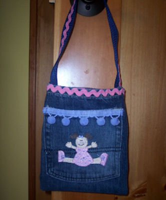 Colleens Button Applique Just Girls Bag