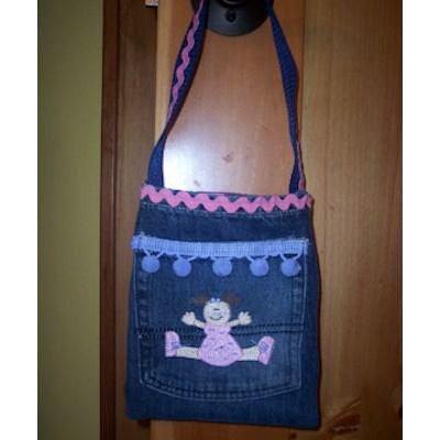 Colleens Button Applique Just Girls Bag