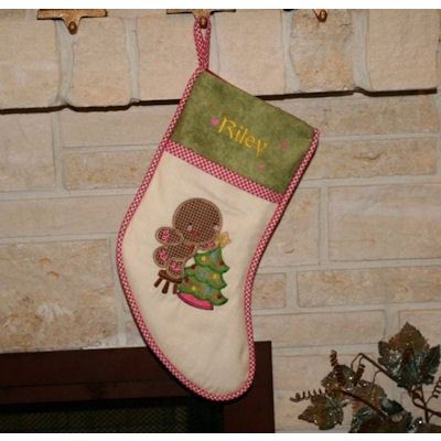 Kathys Sweet Ginger Applique stocking