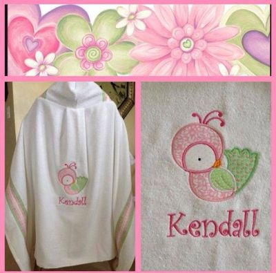 Judy Tweet Thing Applique Hooded Towel Feb 17