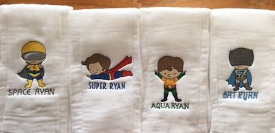 Natalie Superhero Burp Cloths
