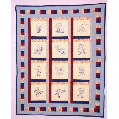 Enis Sporty Boys Redwork Quilt